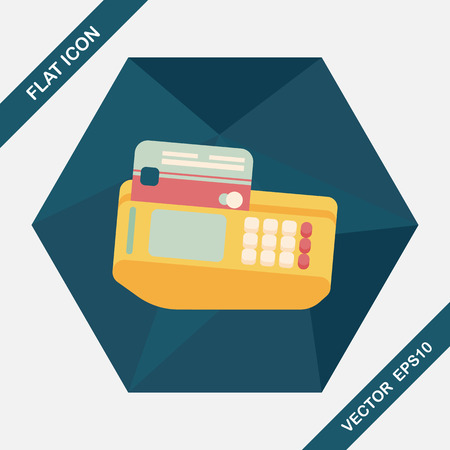 cashless payment: Shopping credit card machine flat icon with long shadow,eps10