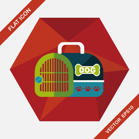 transporter: Pet dog travel cage flat icon with long shadow,eps10