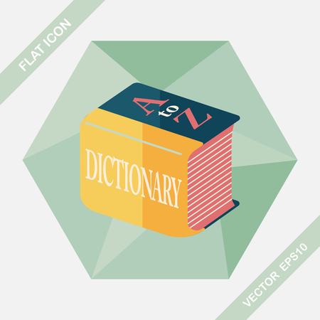 thesaurus: Dictionary flat icon with long shadow,eps10 Illustration