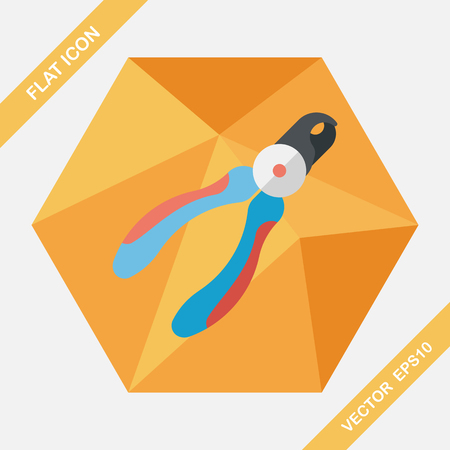 nail clippers: Pet nail clippers flat icon with long shadow, eps10 Illustration