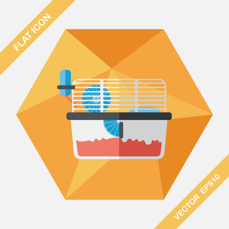 caged: Pet mouse cage flat icon with long shadow,eps10 Illustration