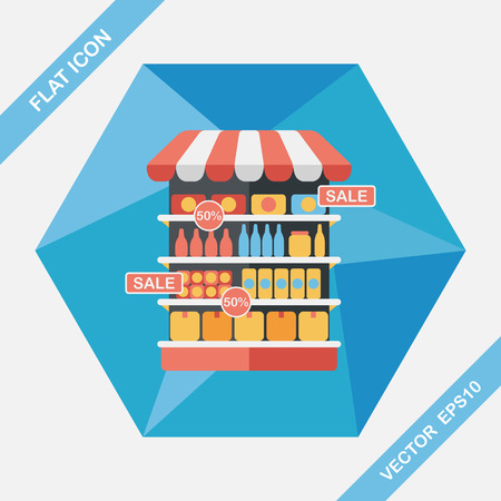 shopping supermarkt plat icoon met lange schaduw, eps10