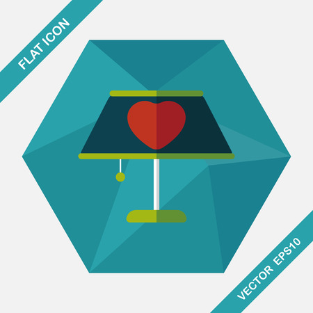 lampshade: Valentines Day heart lamp flat icon with long shadow,eps10