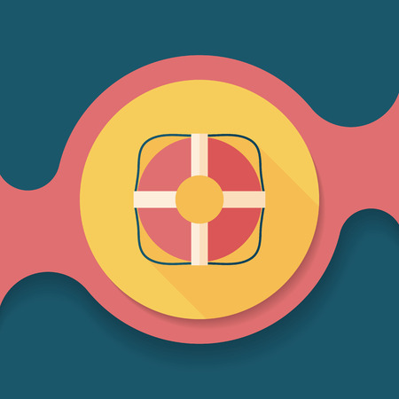 swimming belt: Lifebuoy flat icon with long shadow,eps10