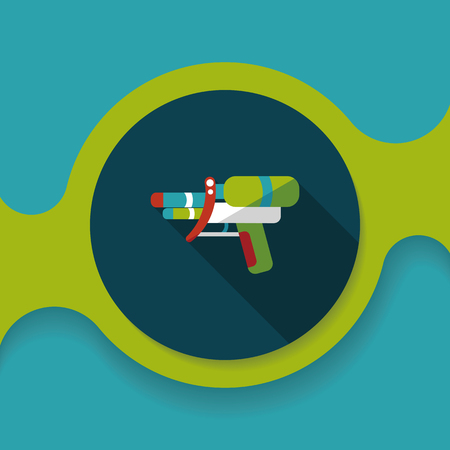 squirt: Water Gun flat icon with long shadow,eps10