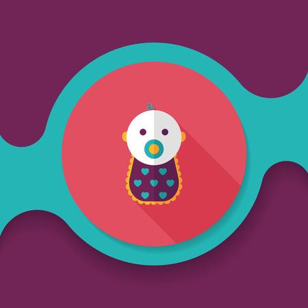 hispanic boy: baby flat icon with long shadow,eps 10 Illustration