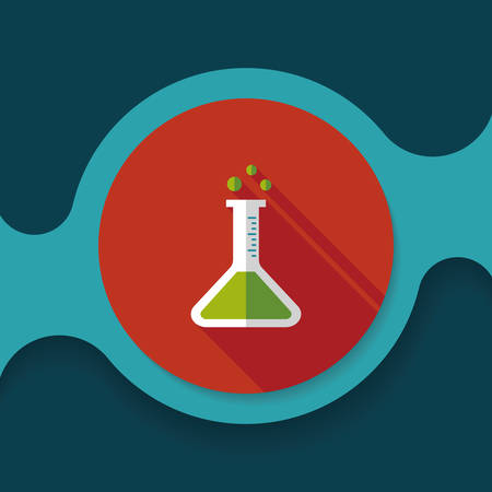 drug discovery: test tube flat icon with long shadow ,eps10