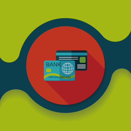 commercial painting: credit card flat icon with long shadow,eps10