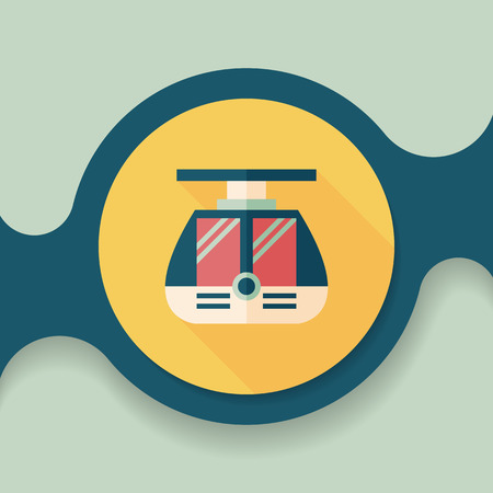 streetcar: tram flat icon with long shadow,eps10