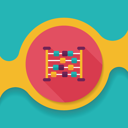 compute: abacus calculation flat icon with long shadow Illustration