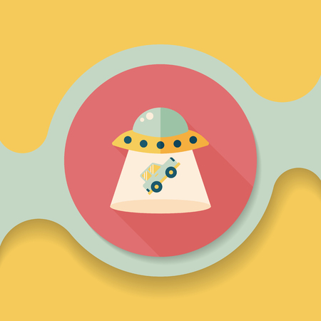 space invaders: Space UFO flat icon with long shadow, eps10