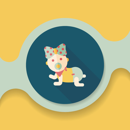 pretty young girl: baby rattle flat icon with long shadow,eps10
