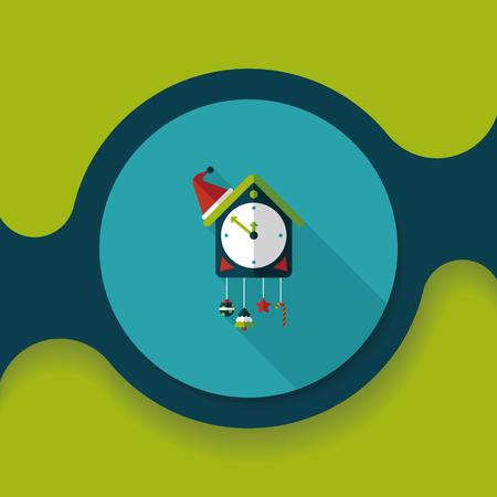 reloj cucu: Icono plana reloj de cuco con larga sombra, eps10 Vectores