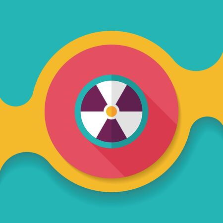 nuke: Radiation flat icon with long shadow,eps10 Illustration