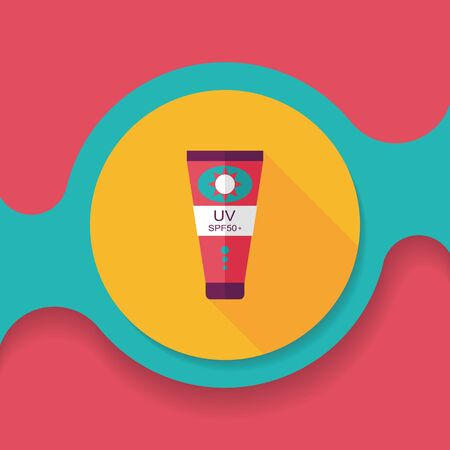 sunscreen: Sunscreen flat icon with long shadow,eps10 Illustration
