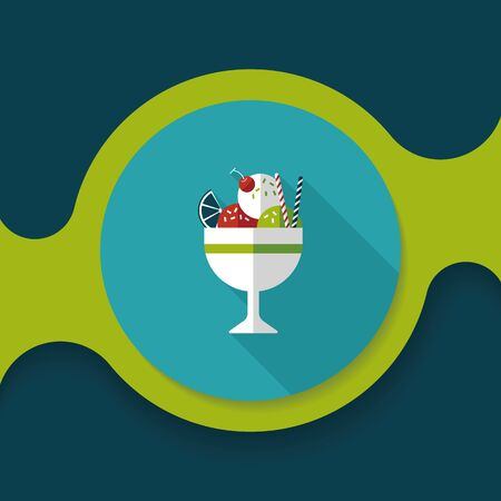 mixed nuts: ice cream flat icon with long shadow,eps10