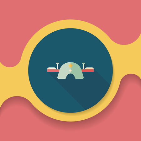 schoolyard: Playground Seesaw flat icon with long shadow