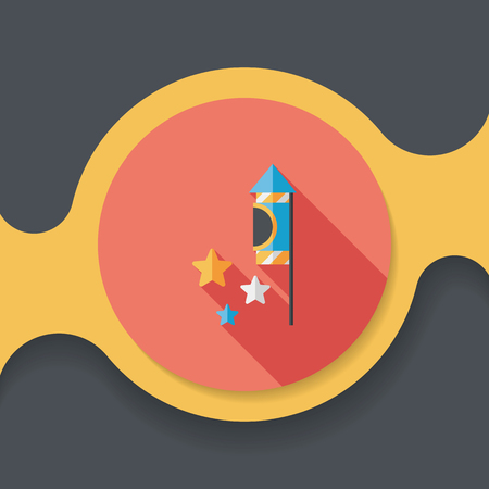 firecracker: Firecracker flat icon with long shadow,eps10 Illustration