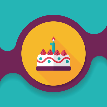 cupcake background: birthday cake flat icon with long shadow,eps10 Illustration