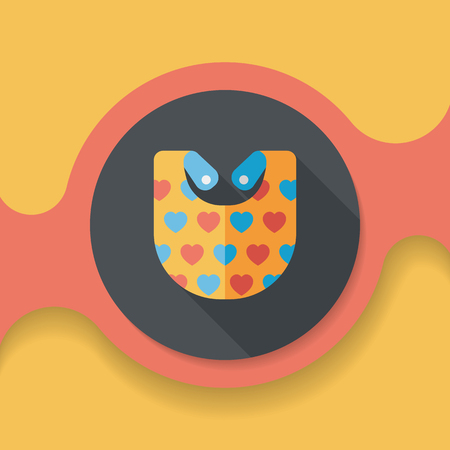 hungry kid: baby bib flat icon with long shadow,EPS 10 Illustration