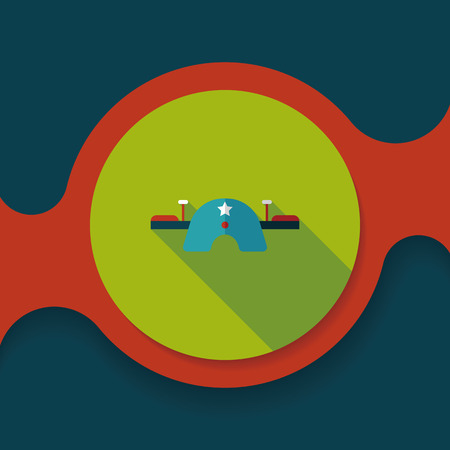 seesaw: Playground Seesaw flat icon with long shadow