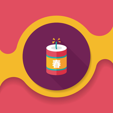 firecrackers: Chinese New Year flat icon, Chinese festival couplets with firecrackers means  wish the arrival of spring. Illustration