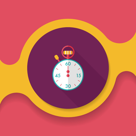 success control: stopwatch flat icon with long shadow