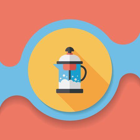 tea pot: tea pot flat icon with long shadow Illustration