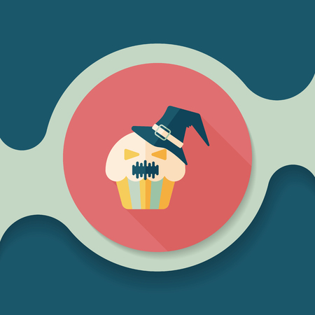 viewpoints: Halloween cupcakes with ghost flat icon with long shadow Illustration