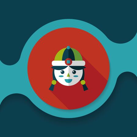 asian family fun: Chinese New Year girl flat icon with long shadow