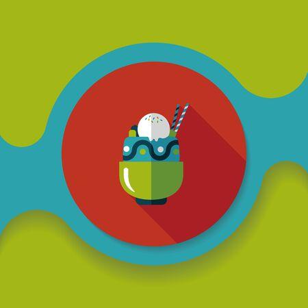 coppa di gelato: sundae icona piatta con una lunga ombra