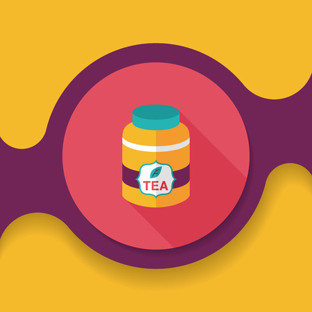 canister: tea canister flat icon with long shadow