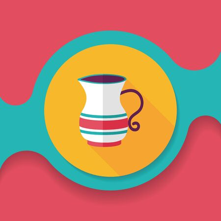 teakettle: tea pot flat icon with long shadow Illustration