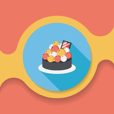 blueberry pie: fruit tart flat icon with long shadow Illustration