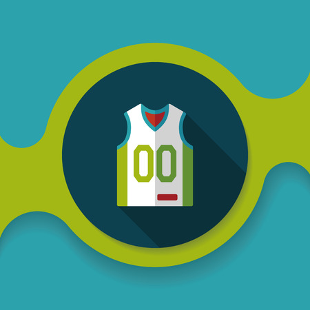 t shirt model: basketball clothing flat icon with long shadow Illustration