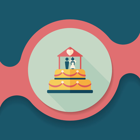 WEDDING DAY: wedding cake flat icon with long shadow