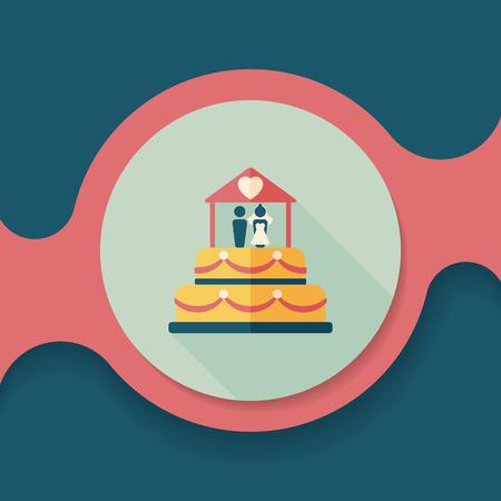 wedding celebration: wedding cake flat icon with long shadow