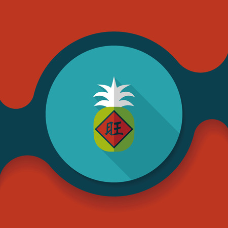 of them: Chinese New Year flat icon with long shadow, when you send pineapple for your friends in Chinese New Year means you wish them will be wealthy this year.