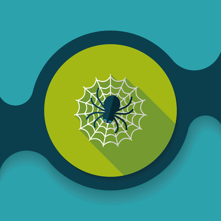 chitin: Halloween Spider flat icon with long shadow Illustration