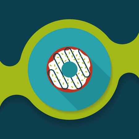 dough nut: donut flat icon with long shadow Illustration