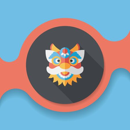 dancing dragon: Chinese New Year flat icon with long shadow,The dragon and lion dancing head