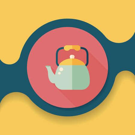 teakettle: kitchenware tea pot flat icon with long shadow