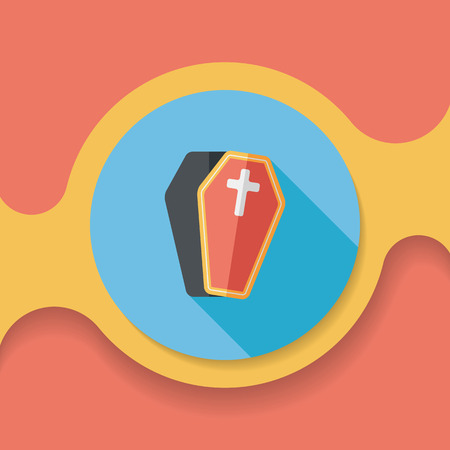 crematorium: coffin flat icon with long shadow