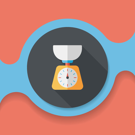 weight scale: kitchenware weight scale flat icon with long shadow