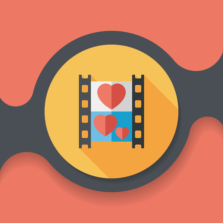 videographer: wedding film flat icon with long shadow Illustration