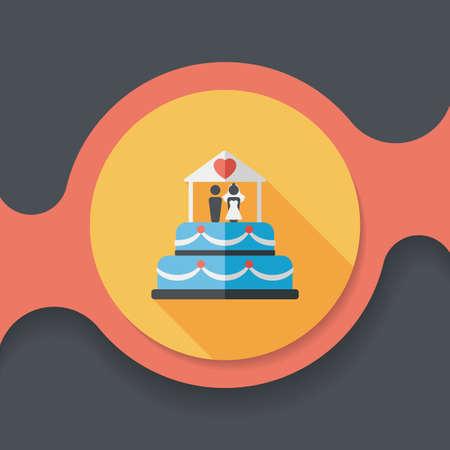 wedding heart: wedding cake flat icon with long shadow