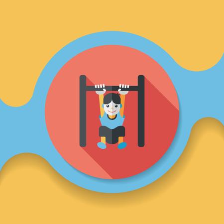horizontal: Boy hanging horizontal bar flat icon with long shadow Illustration