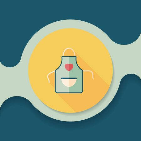 kitchen ware: kitchenware apron flat icon with long shadow Illustration