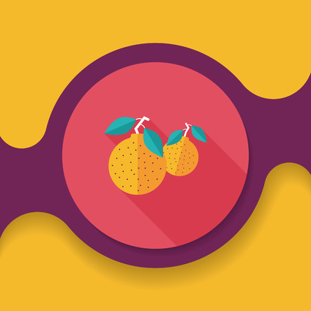 Chinese New Year Mandarin Oranges flat icon with long shadow