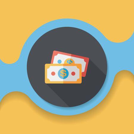 cash money: shopping money cash flat icon with long shadow,eps10 Illustration